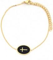 D-E4.2  B016-011 Stainless Steel Bracelet with Cross Gold
