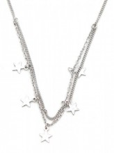 D-D5.4 ANK104-027 Anklet 925 Sterling Silver Layers with 5mm Stars