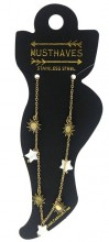 C-D1.2 ANK221-011G S. Steel Anklet Sun and Stars Gold