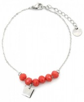 D-A20.5 B317-005 Stainless Steel Bracelet with Facet Glass Beads Brick Orange