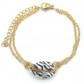 A-B2.3 B2121-007G S. Steel Bracelet Shell Zebra Gold