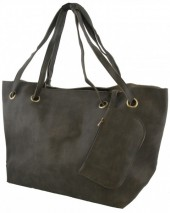 Y-F6.3  BAG535-004B PU Shopper 50x30x16cm Grey