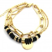 E-A20.4 B2019-012G Layered Chain Bracelet Gold