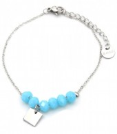D-C18.3 B317-005 Stainless Steel Bracelet with Facet Glass Beads Blue