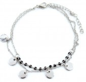 E-A7.1 B426-002 Bracelet with Black Beads and Coins Silver