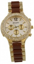 B-C21.3 Quartz Metal Watch With Crystals Brown - Gold