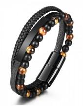 C-A14.2 B022-019-Black Bracelet S.Steel - Leather - Tigers Eye 21cm