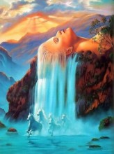T-P2.1  H352 Diamond Painting Set Waterfall Horses Round Stones 50x40cm
