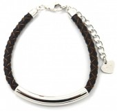 D-A18.3 SB105-050B 925S Silver Bracelet Leather Brown