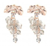 B-A22.2  E2019-006RG Earrings Faceted Glass Beads 40mm Grey-Rose Gold