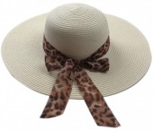 Q-N6.1 HAT504-005C Hat with Animal Print Ribbon Beige