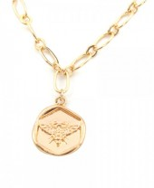 F-E7.1  N304-039 Metal Necklace Bee Charm 1.5cm Gold