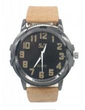 B-F22.3 W523-002B Quartz Watch with PU Strap 45mm Brown