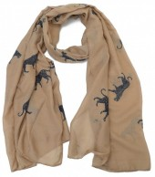 S205-001 Scarf with Leopards and Glitters 70x180cm Brown