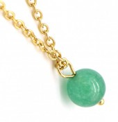 A-B3.1 N2121-016G S. Steel Necklace with 8mm Stone Aventurine