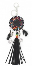 B-C17.2 K018-004 Keychain with Star and Tassel 24cm Black-Multi Color