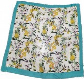 X-H9.1 SCARF508-003C Square Scarf with Flowers and Birds 130x130cm Blue
