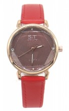 C-D20.4 W523-028 PU Quartz Watch 34mm Red