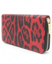 WA011-001 Wallet with Leopard Print 19x10cm Red