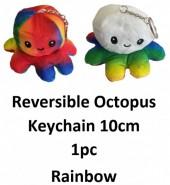 Z-E2.4 KY2109-001 Reversible Octopus Keychain 10cm - Rainbow - 1pc