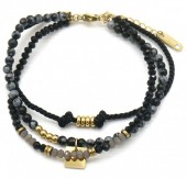E-A3.2 B010-036G Layered S. Steel with Stones Bracelet