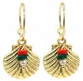 C-C19.1 E2019-033G Earrings Shell 1.5x3cm Gold