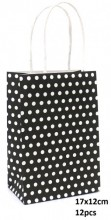 Y-B1.4 PK525-005B Paper Giftbag Dots 17x12cm Black-White 12pcs