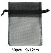 B-F23.1 Organza Gift Bag 9x12cm Black 50pcs