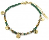 D-C15.2  B010-017G S. Steel Bracelet Coins and Stones Green-Gold