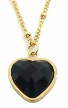 B-A6.3 N1934-009 Stainless Steel Necklace with 20mm Heart with Black Onyx Gold