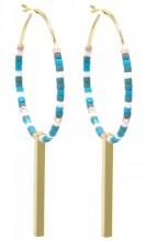 F-B4.2 E2019-042G Earrings Beads 3x5.5cm Blue-Gold