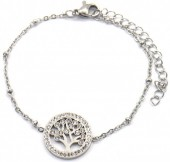 D-C15.3 B2020-001S S. Steel Bracelet 15mm Tree of Life Crystals Silver