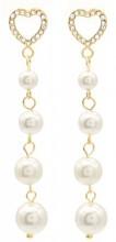 B-D21.1 E012-002G S. Steel Earrings Heart and Pearls 4cm