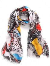 X-K2.1  S314-001 Scarf with Fantasy Animal Print 180x90cm White