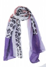 X-E3.2 SCARF507-014C Animal Print 180x90cm White-Pink-Purple