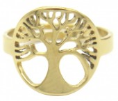 B-E17.2 R519-005G S. Steel Ring Adjustable Tree of Life Gold