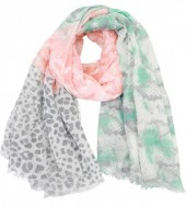 X-D5.2 S106-030 XL Scarf with Snake-Panther-Palmtree Print 140x140cm Blue-Pink