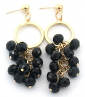 E-E17.3 E518-001D Earrings with Faceted Glass Beads 7x2cm Black-Gold