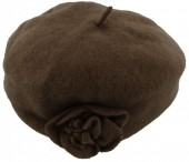 Z-E1.2  Woolen Hat with Flower Brown