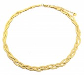 D-C16.3 NB2142-001N Steel Necklace Woven Gold