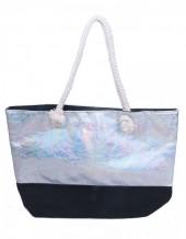 Y-B5.1 BAG327-002 Velvet Beach Bag with Metallic Print White