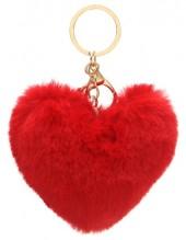 E-B2.2 KY414-003B Fluffy Bag-Keychain 10cm Heart Red