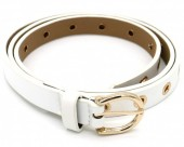 T-H3.1 BELT511-001A PU Belt with Golden Rings 100x2cm Adjustable White