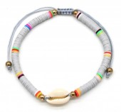 D-C8.3  B1925-009 Bracelet with Surf Beads and Shell Grey
