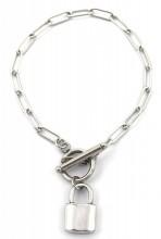 F-D3.2 BN2033-020S S. Steel Bracelet with Lock 19cm Silver