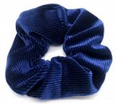 S-H7.4 H305-022D Rib Fabric Shiny Scrunchie Blue