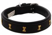 H-D24.1 MTDC-002 Leather Dog Collar with Bones Black XS 44x2cm