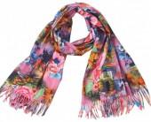 Q-M8.1 SCARF405-067G Soft Scarf Flowers 180x70cm Pink