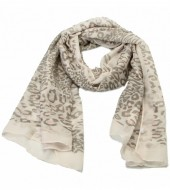S205-002 Scarf with Animal Print and Glitters 70x180cm Light Brown