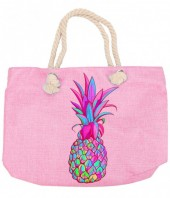 Y-E1.2 BAG213-003 Beach Bag with Multi Colored Pineapple 50x36cm Pink